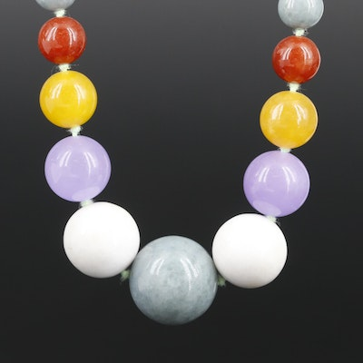 Strand of Hand Knotted Graduated Multi Colored Jadeite Beads with 14K Clasp