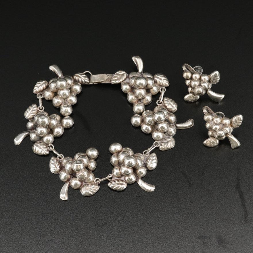 Vintage Mexican Grape Earrings and Bracelet Set