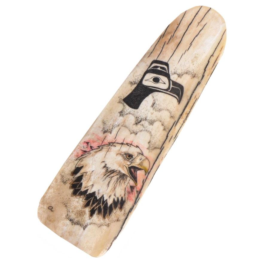 Walrus Ivory Scrimshaw Carving