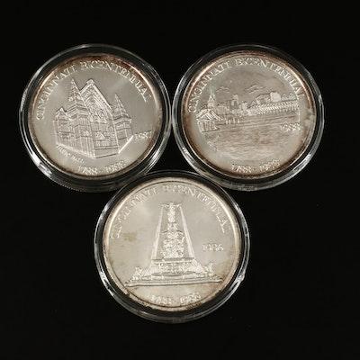 Set of Three 1988 Cincinnati Bicentennial Proof Fine Silver Rounds
