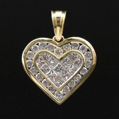 18K Gold 1.14 CTW Diamond Heart Pendant