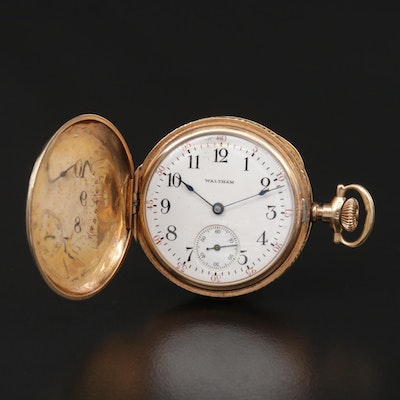 1908 14K Gold Waltham Hunting Case Pocket Watch