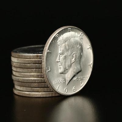 Ten Uncirculated 1964-D Kennedy Silver Half Dollars