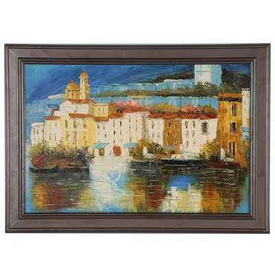 Southern European Coastal Village Landscape Acrylic and Oil Painting