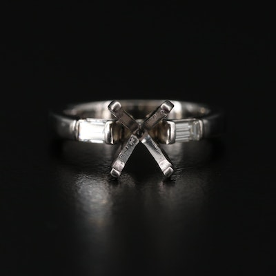 Platinum-Copper Alloy Diamond Semi-Mount Ring