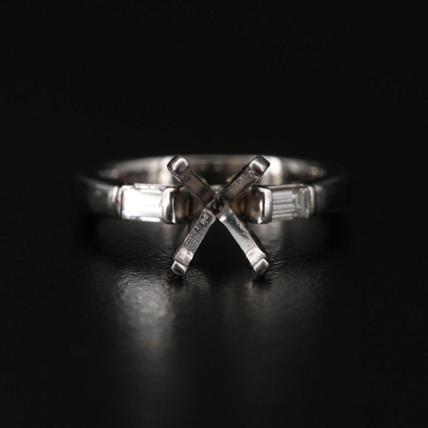 Platinum-Copper Alloy Diamond Semi-Mount Ring