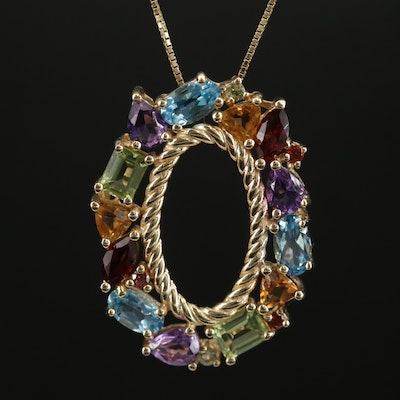14K Yellow Gold Mixed Gemstone Oval Pendant Necklace