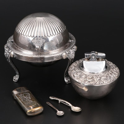 Sterling Silver Lighter with Silver Plate Vesta and Domed Caviar Server