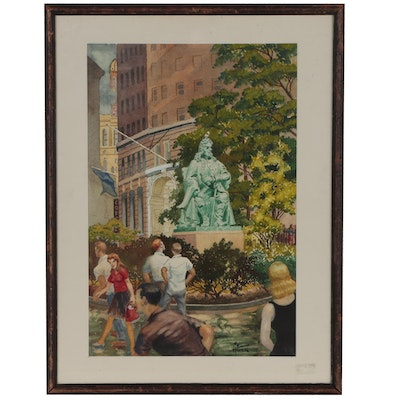 "Harry T. Fisk Watercolor Painting ""Bowling Green New York"""