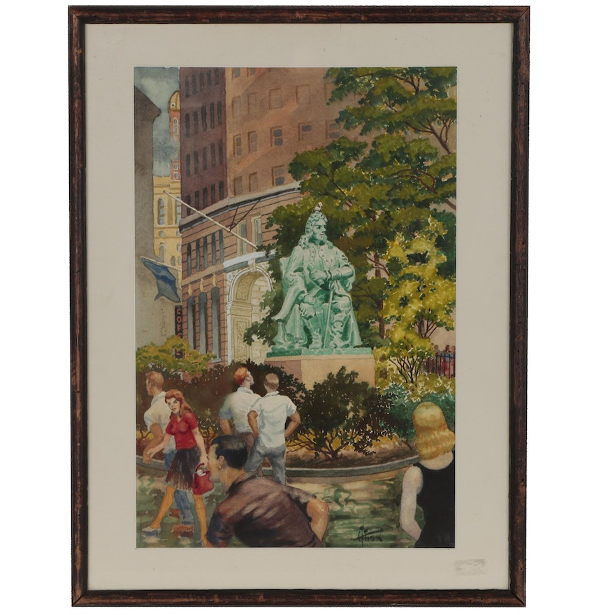 """Harry T. Fisk Watercolor Painting """"Bowling Green New York"""""""