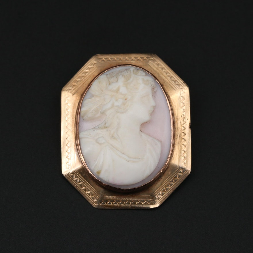 Vintage 10K Gold Conch Shell Carved Cameo Brooch