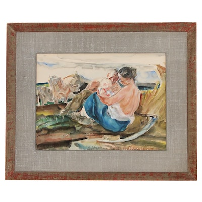 John Edward Costigan Watercolor Painting of a Family Scene