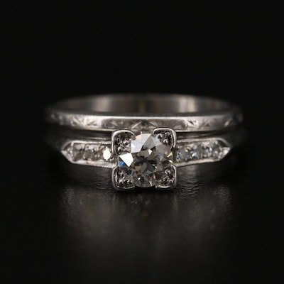 Vintage Platinum Diamond Ring and Band