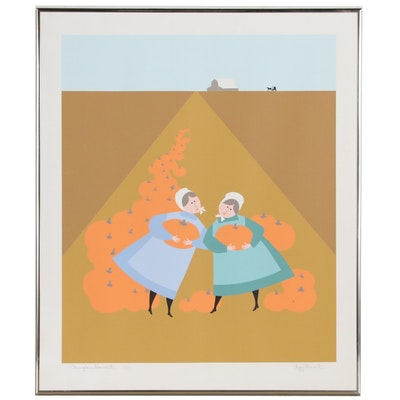 "Peggy Stewart Signed Limited Edition Serigraph ""Pumpkin Harvest"""