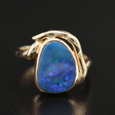 14K Yellow Gold Opal Triplet Ring