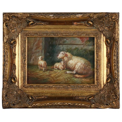 F. Milton Oil Painting of Sheep in a Pastor