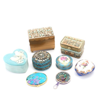 Jewelry and Trinket Box Collection with Embellished Compact Mirrors