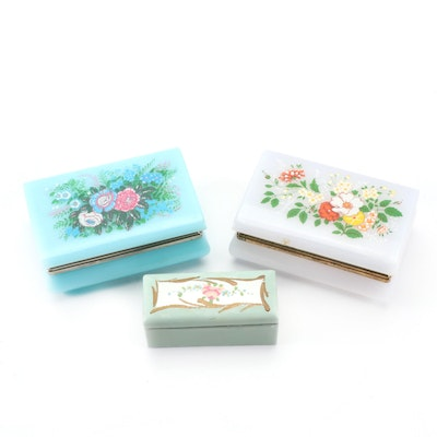 Floral Themed Plastic Jewelry Caskets with Porcelain Stamp Box
