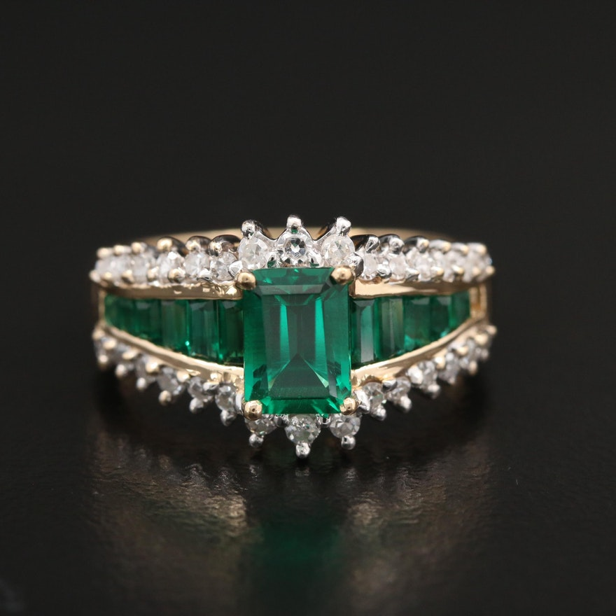 14K Yellow Gold Synthetic Emerald and Diamond Ring