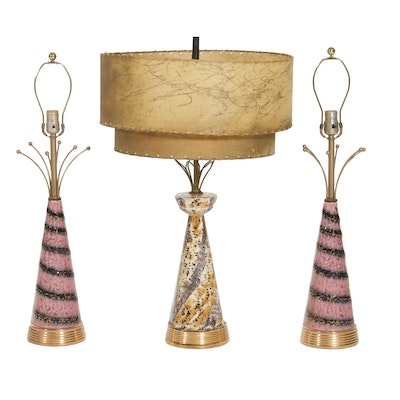 Mid Century Modern Ceramic Table Lamps with Fiberglass Shade