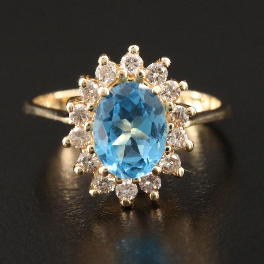 14K Yellow Gold  Blue Topaz with Diamond Halo Ring