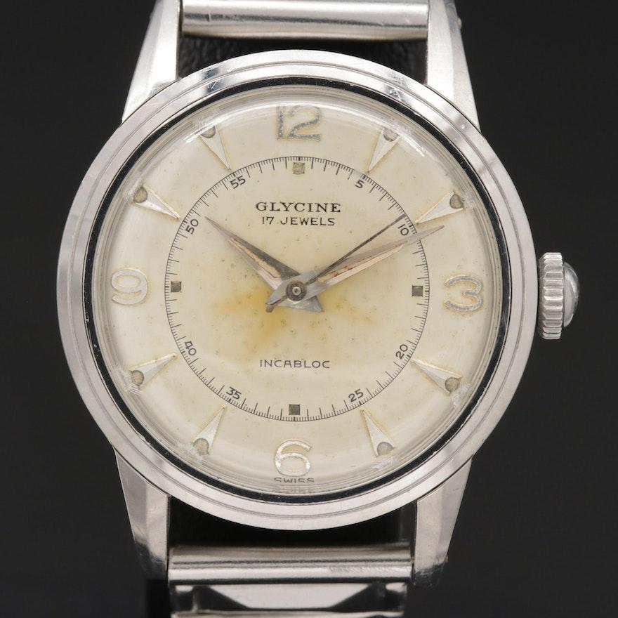 Glycine Stainless Steel Stem Wind Wristwatch, Vintage