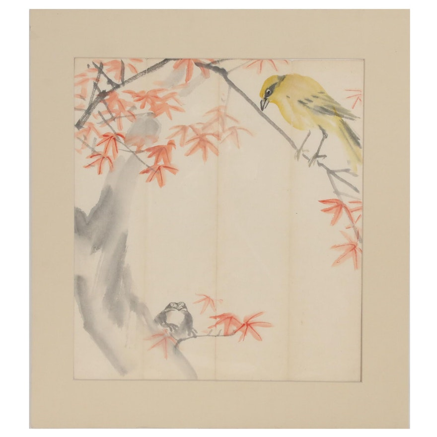 Japanese Kacho-e Ink and Watercolor Painting, 20th Century