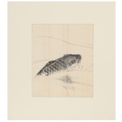 Japanese Sumi-e Ink and Wash Painting of Fish