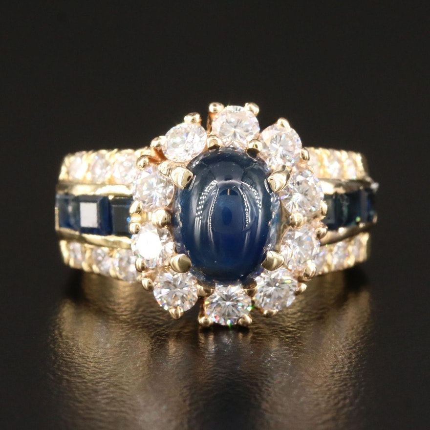 18K Gold Blue Sapphire and 1.56 CTW Diamond Ring with 3.54 CT Center Stone