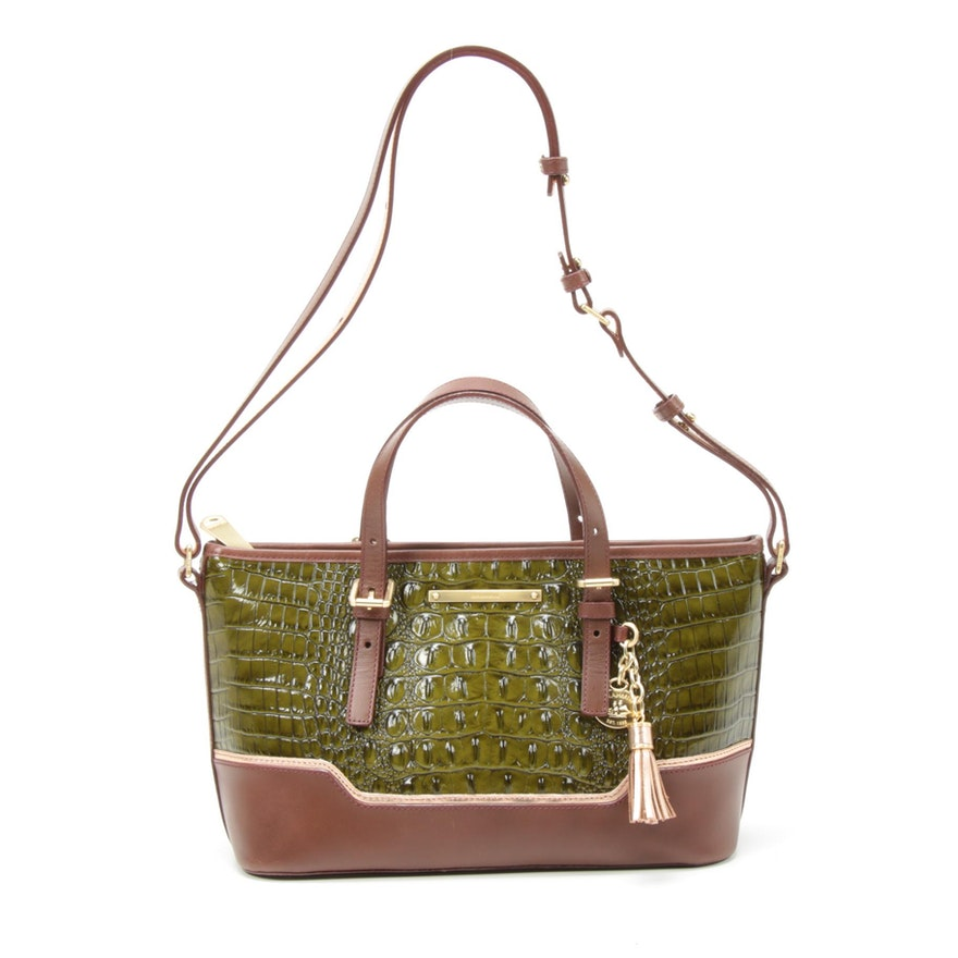 Brahmin Green Crocodile Embossed and Brown Leather Two-Way Bag with Tassel