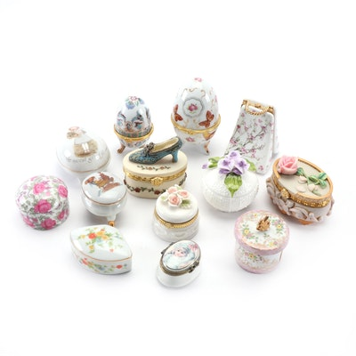 Floral Decorated Hinged and Lidded Porcelain Trinket Box Assortment
