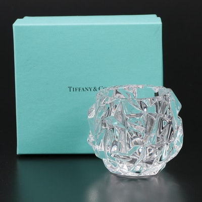 "Tiffany & Co. ""Rock Cut"" Crystal Votive Candle Holder with Box"