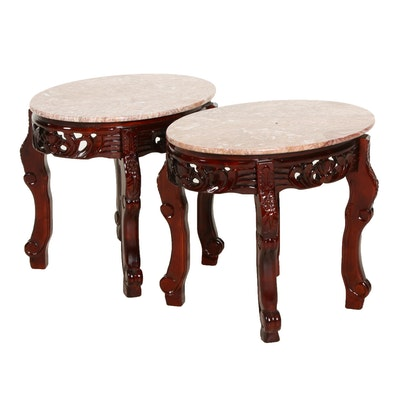 Victorian Style Marble Top Side Tables, Mid-20th Century