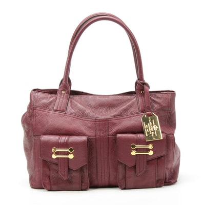 LAUREN Ralph Lauren Burgundy Pebbled Leather Shoulder Bag