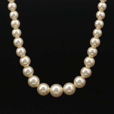 Vintage Sterling Silver Single Strand Imitation Pearl Necklace