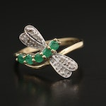 10K Yellow Gold Emerald and Diamond Dragonfly Ring