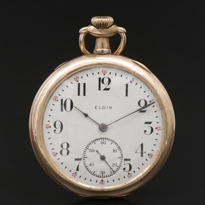 Elgin Gold Filled Open Face Pocket Watch, Antique