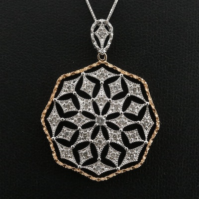 14K White and Yellow Gold Octagonal Diamond Pendant Necklace