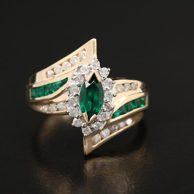 14K Yellow Gold Synthetic Emerald and 0.45 CTW Diamond Bypass Style Ring