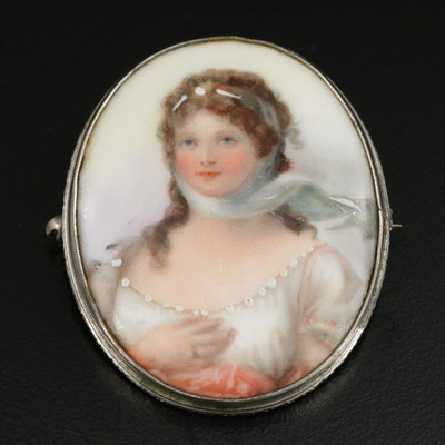 Vintage Hand Painted Porcelain Brooch