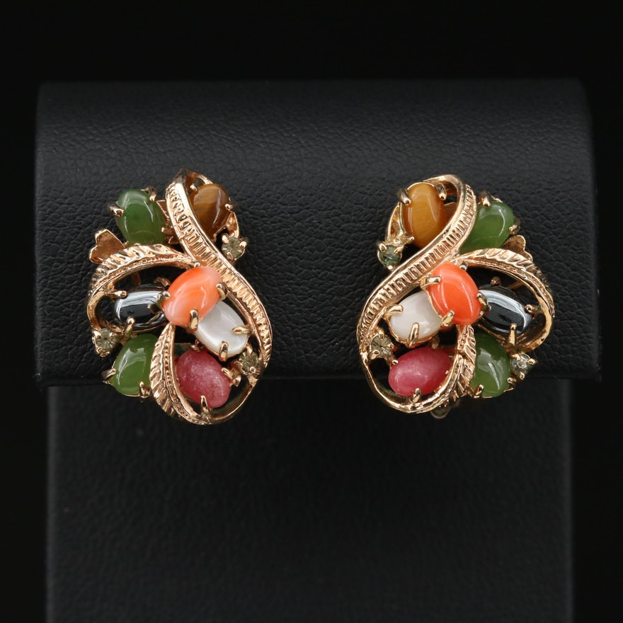Coral, Nephrite and Tiger's Eye Earrings
