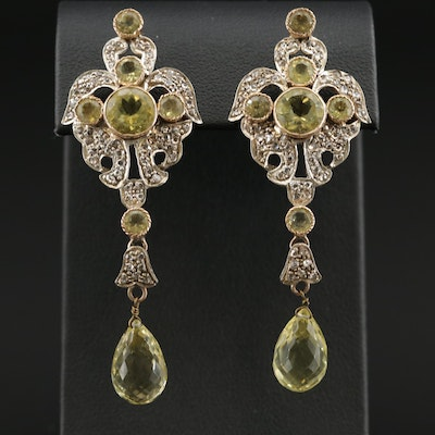 Sterling Silver Citrine and Diamond Drop Earrings