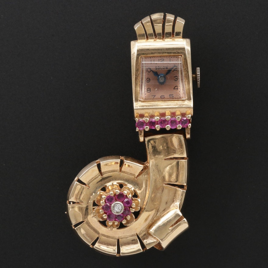 Retro 14K Gold Ruby and Diamond Solow Brooch Watch