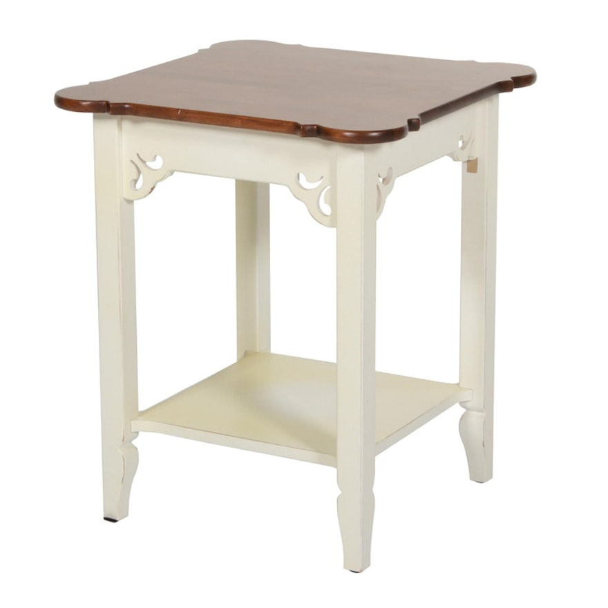 Side Table with Hardwood Top and Painted Base