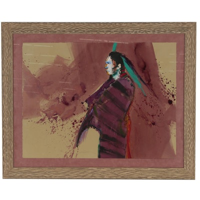 Western Genre Native American Watercolor and Acrylic Painting