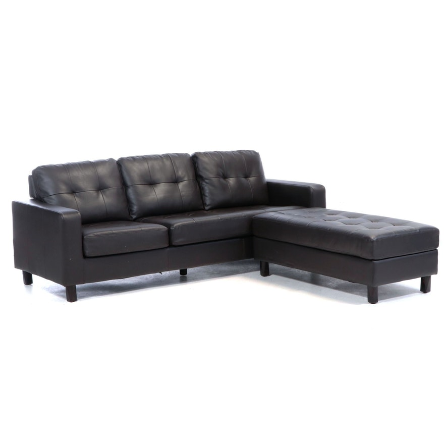 Abbyson Faux-Leather Sofa with Chaise