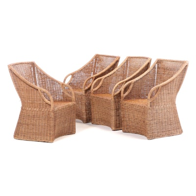 "Williams-Sonoma ""Farallon"" Wicker Armchairs, Late 20th Century"