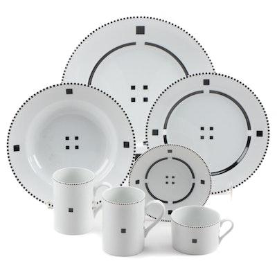 "Gwathmey Siegel for Swid Powell ""Tuxedo"" Porcelain Dinnerware Pieces, 1994-1998"