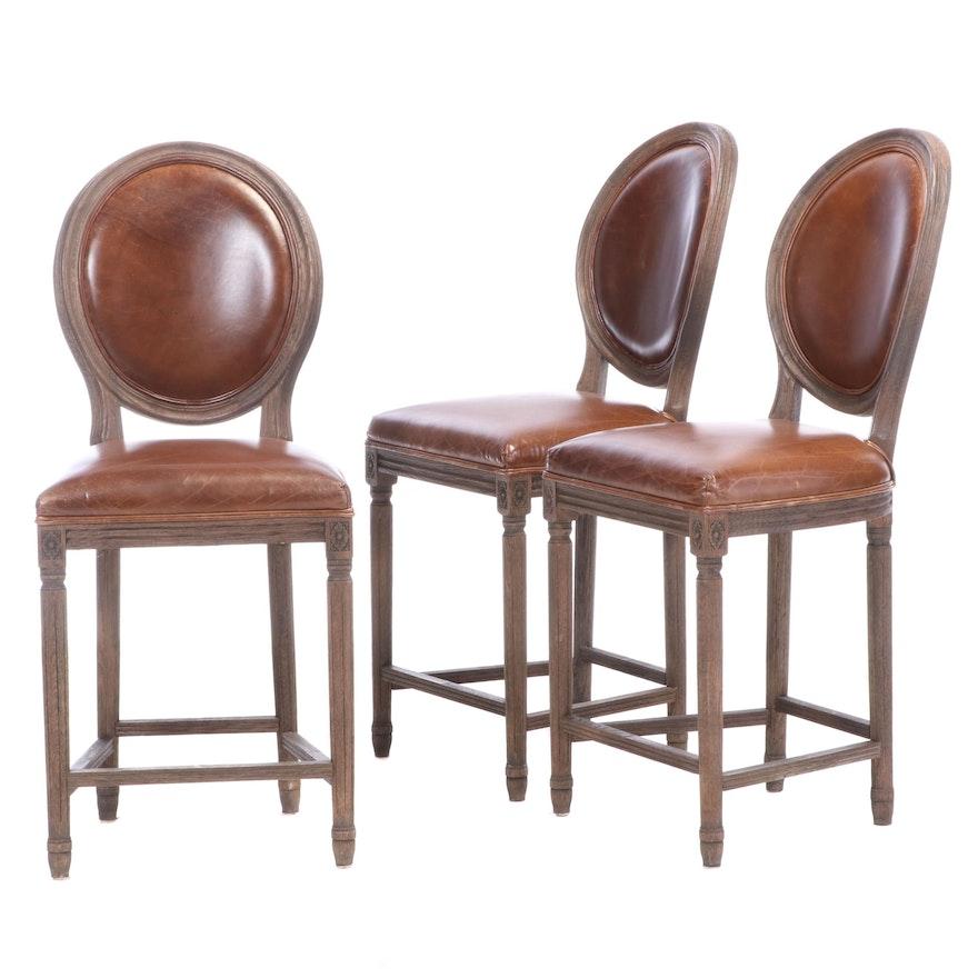 Restoration Hardware Louis XVI Style Leather Upholstered Oak Barstools