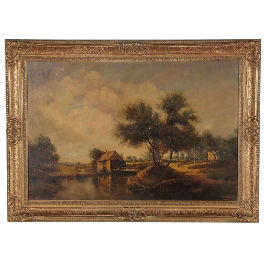 """Nicholas Briganti Oil Painting """"The Old Mill"""", Late 19th Century"""